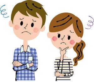 困り顔の夫婦イラスト