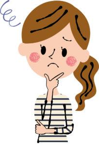 困った顔の女性