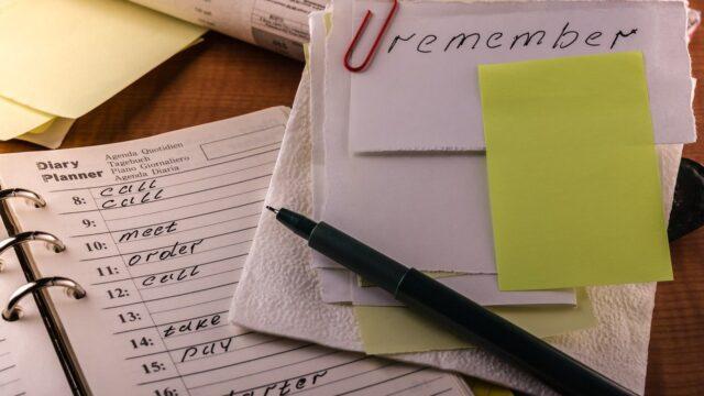ノートとペンで忘れないようにする
